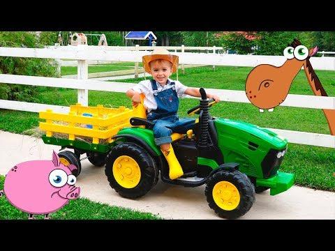 Nikita Had A Farm and feeding cartoon animals