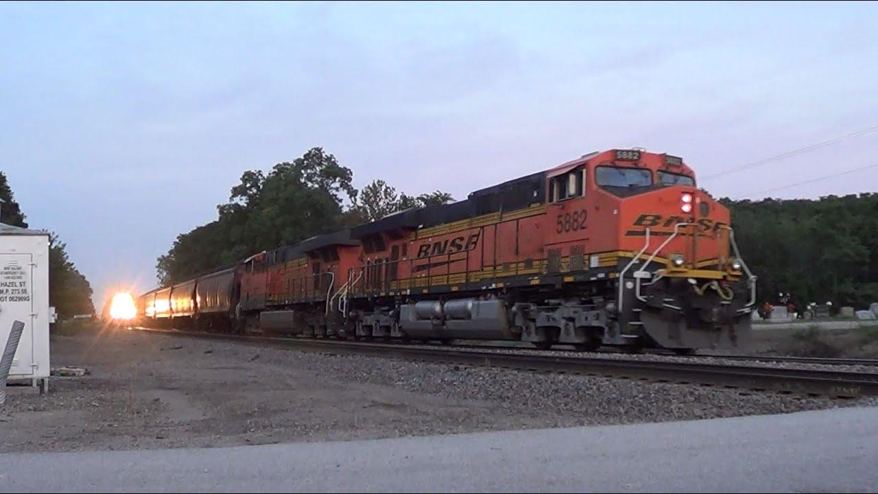 Bnsf Grain Train Meets Cargill Feed Train Youtube
