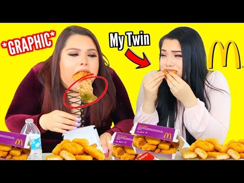 100 Chicken Nugget Challenge WITH MY TWIN! *GRAPHIC*