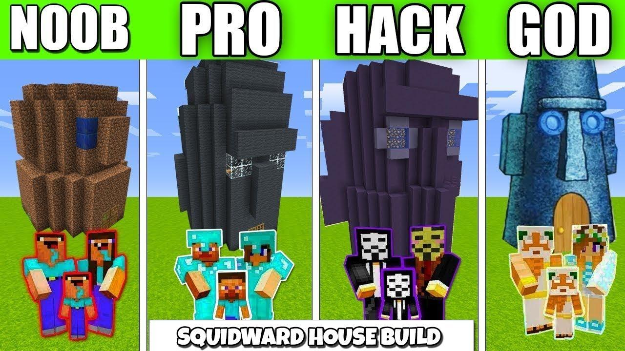 Minecraft Battle Squidward House Family Crafting Challenge Noob Vs Pro Vs Hacker Minecraft