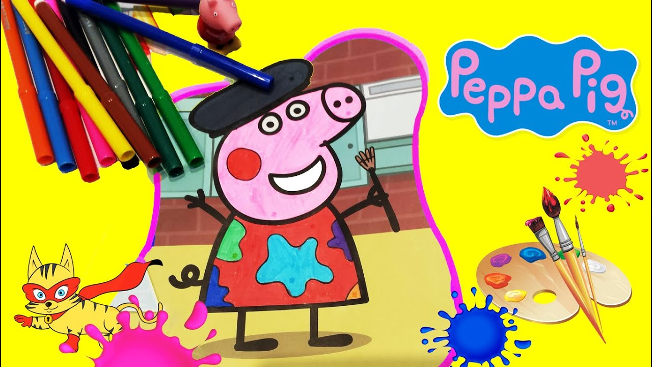 juegos para pintar colorear dibujos para ni os de peppa pig youtube. Black Bedroom Furniture Sets. Home Design Ideas