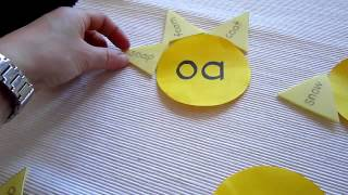 "Preschool - Reading, Phonics, Spelling game: Make sun shapes with ""o"", ""oa"" and ""ow""."