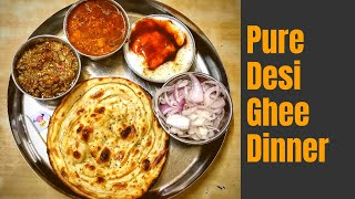 Desi Ghee Dal, Bharta and Lacha Parantha at Inderpuri Foods and Guest House
