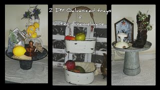 DIY dollar tree enamel ware tier bowls and 2 galvanized cake pans farmhouse/ dessert table Trays