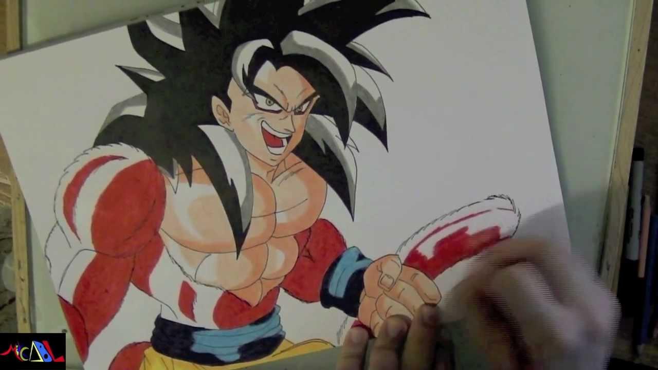 Dibujando a Goku SSJ4  YouTube