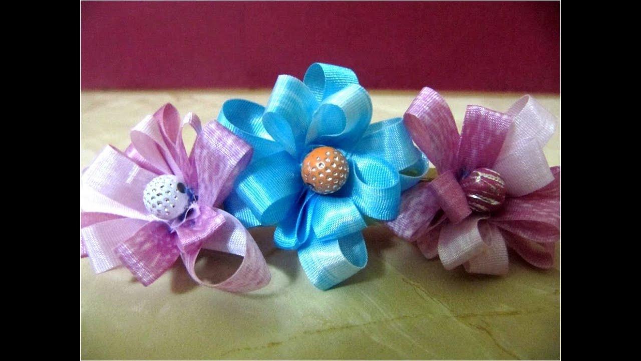 Lazos con flores de cintas para el cabello YouTube