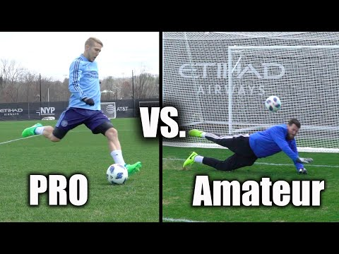 Regular People Try To Block A Pro Soccer Player's Shots