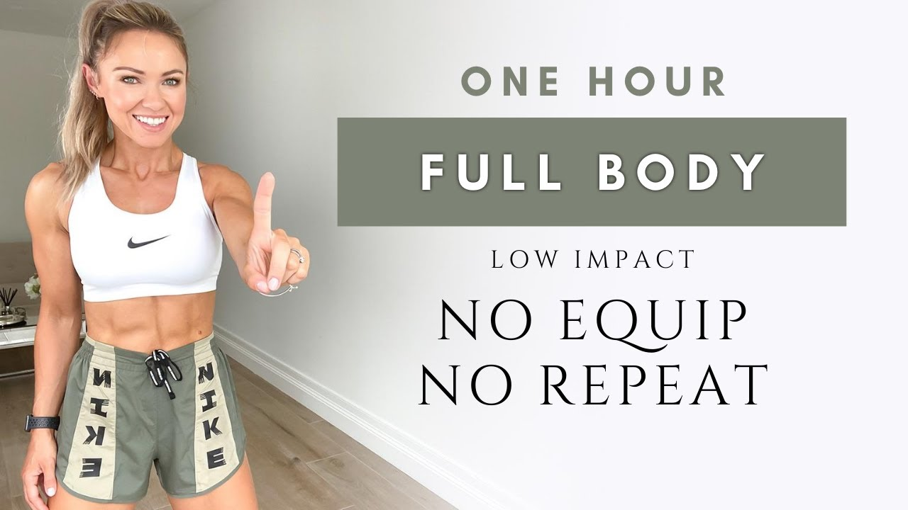 1 Hour FULL BODY WORKOUT at Home   No Repeat and Low Impact