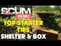 Scum starter Tips - Scum how to Craft a shelter and box Guide - Scum Giveaway (New Survival Game)