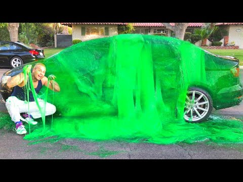 SLIME BATH ON CAR!!! **5,000 POUNDS OF DIY GIANT FLUFFY SLIME ON BROTHERS CAR**