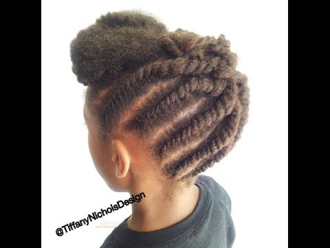 Flat Twist Updo Protective Hairstyle Natural Hair Kid Friendly