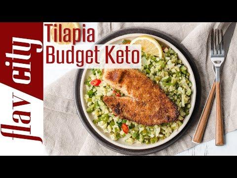 Keto Seafood Dinner On A Budget($4.60) Crispy Tilapia & Veggie Couscous