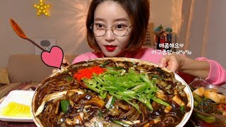 쟁반짜장면 먹방mukbang Jjajangmyeon Black bean noodle ジャージャー麺 炸醬麵 mgain83 Dorothy korean food