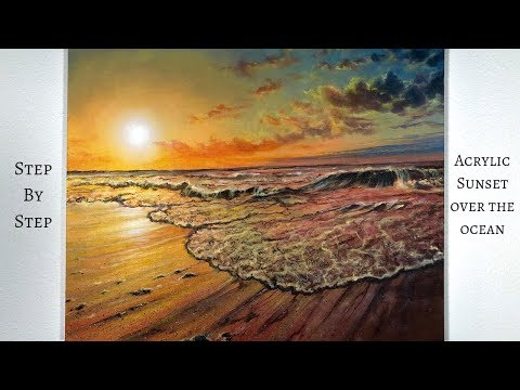 Ocean Sunset STEP by STEP Acrylic Painting (ColorByFeliks)