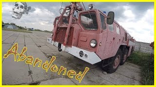 Abandoned Special Aviation Equipment. Abandoned Ghost  Fire Truck and Military Truck 2018