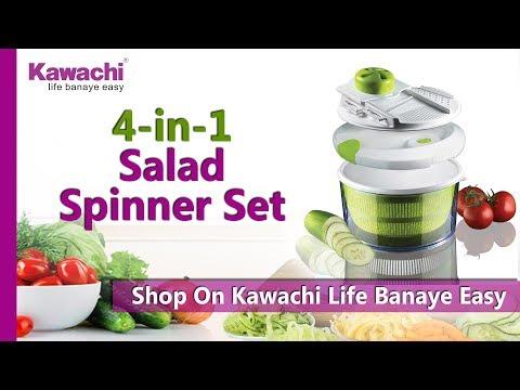 Kawachi 4-in-1 Salad Spinner Set with Mandoline Slicer and Storage Lid