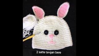 2 saatte Tavşan modeli örgü bere yapımı