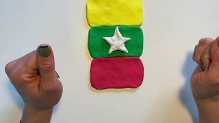 Myanmar Flag made out of slime  Jo&#39s Satisfying Slime Channel
