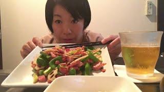 ひとり家飲み【野菜ベーコンペペロンチーノ炒め】&ビールで晩酌