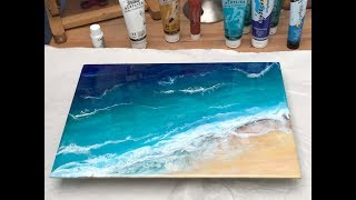 39 - Epoxy Resin & Acrylic art -  Beginners Ocean scene - Amazing results, relax and hear the waves