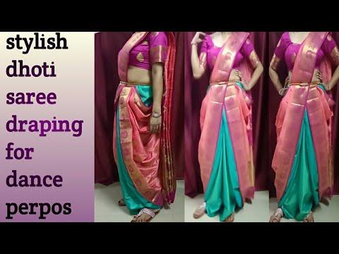 How to wear a dhoti saree wd stylish silk saree for dance perpos