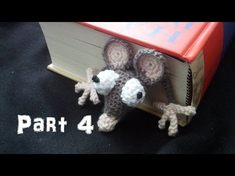 Learn how to crochet an Amigurumi Rat Bookmark Part 4