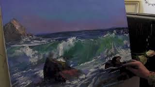 Мастер класс по живописи маслом №56   Морской пейзаж  Как рисовать  Урок рисован 1