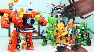 헬로카봇 메가볼드 스폐셜 대왕바퀴벌레와의 결투! 장난감 카봇 변신 합체 뽀로로 로보트 Hello Carbot Robot Toys Animation