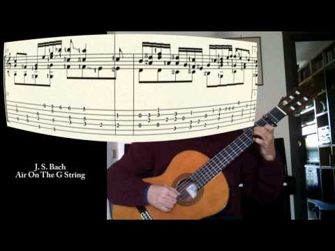 "J. S. Bach ""Air On The G String"" (BWV 1068) one guitar with score and tab"