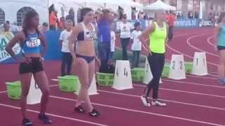 hordeloopster Michelle Jenneke (dancing queen) Bij De Nederlandse kampioenschappen Atletiek 2015