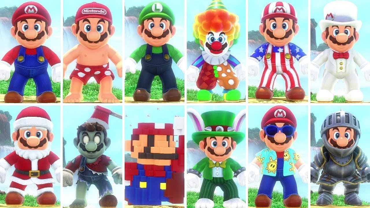 Super Mario Odyssey All Costumes Dlc Included Youtube