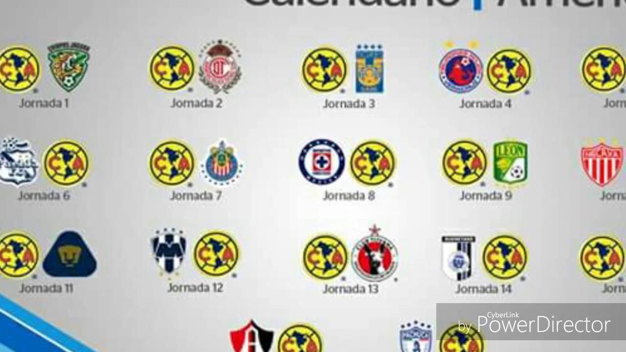 Calendario de la apertura 2016 (América,Atlas,Cruz Azul,Chivas ...