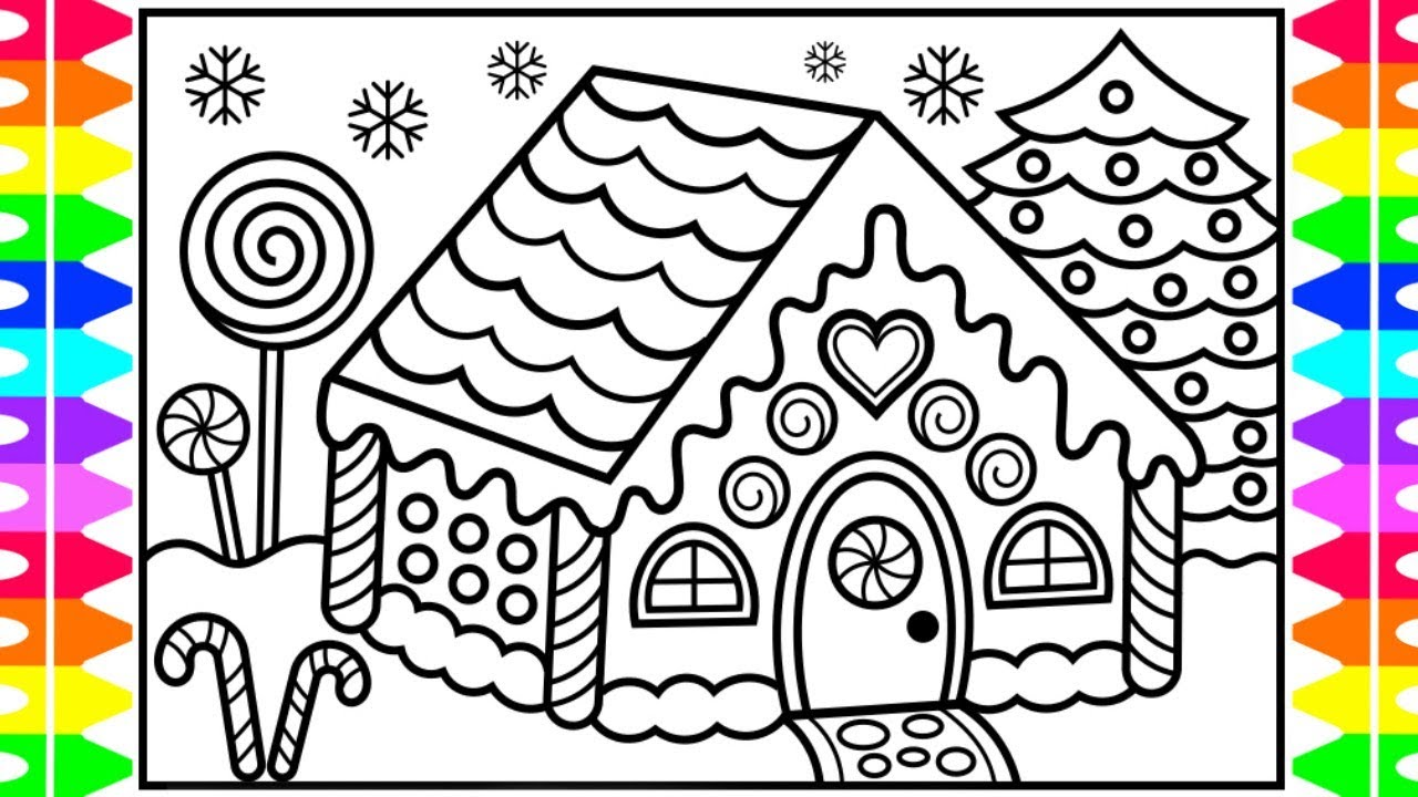 How to Draw a Gingerbread House for Kids 🍭🎄 ️💚 Gingerbread ...