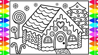 How to Draw a Gingerbread House for Kids 🍭🎄❤️💚 Gingerbread House Drawing and Coloring for Kids