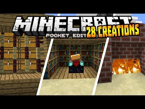 28 AMAZING CREATIONS in MCPE!!! - 0.15.1 Redstone Creation - Minecraft PE (Pocket Edition)
