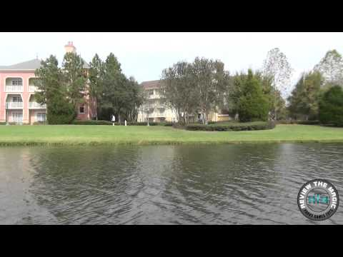 Disney's Saratoga Springs Resort from boat on Sassaguola River  high quality 1080 HD