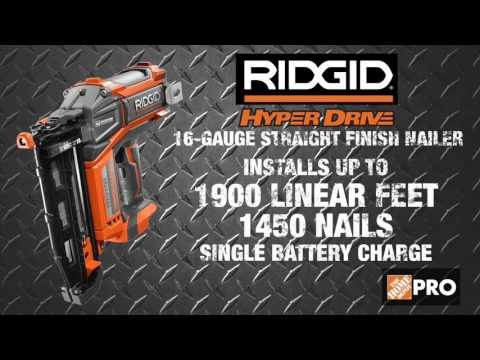 RIDGID Hyperdrive Brushless Finish Nailers - The Home Depot - YouTube