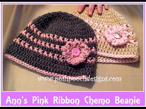 Anns Pink Ribbon Chemo Beanie Crochet Pattern 2 Youtube