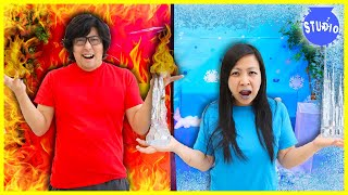 Ryan's Mommy VS Ryan's Daddy Best HOT and COLD CHALLENGES!! Temperature VS Food Challenge!