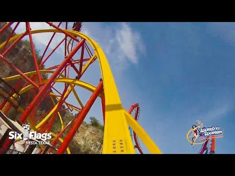 Wonder Woman Golden Lasso Roller Coaster *REAL*  POV Six Flags Fiesta Texas 2018