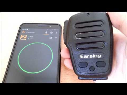Earsing Bluetooth PTT Mic Speaker for Android Zello App Demo