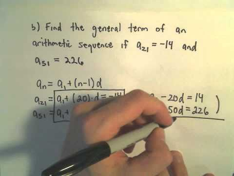 Arithmetic Sequences: Finding a General Formula Given Two Terms