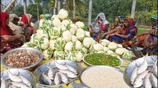 80 kg cauliflower 30 kg pulses amp hilsa fish mixed gravy curry cooking for full village people