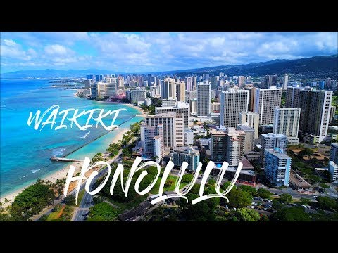 Waikiki Honolulu Oahu Hawaii And Friday Fireworks Drone Video