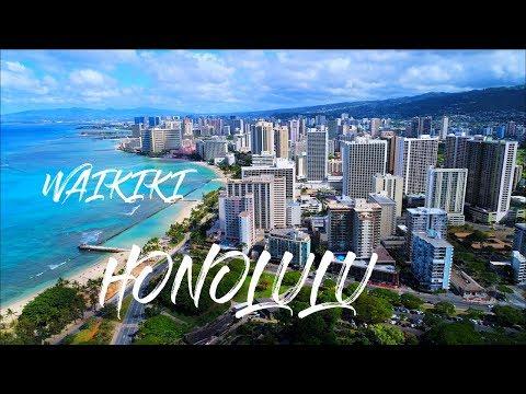 Waikiki Honolulu Oahu Hawaii And Friday Fireworks Drone Video