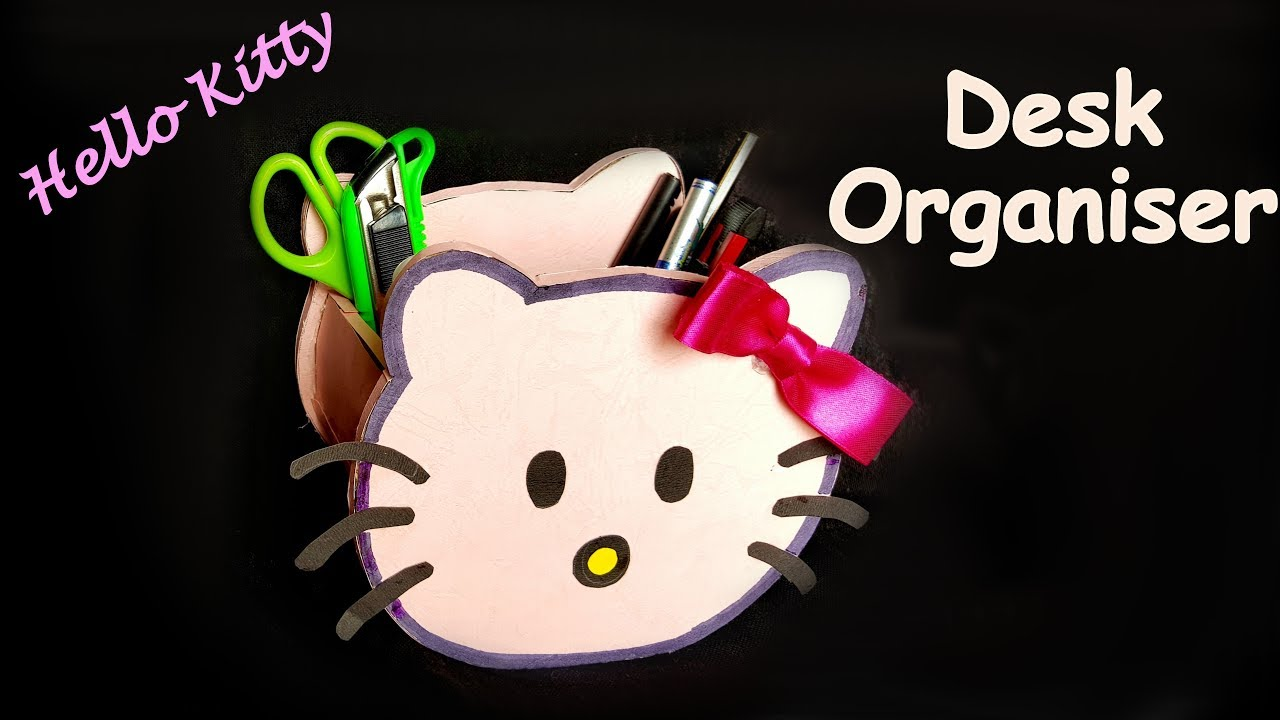6bce5bd9c DIY- How to make HELLO KITTY pen stand /pencil holder / desk organiser from  paper? Kids craft ideas.