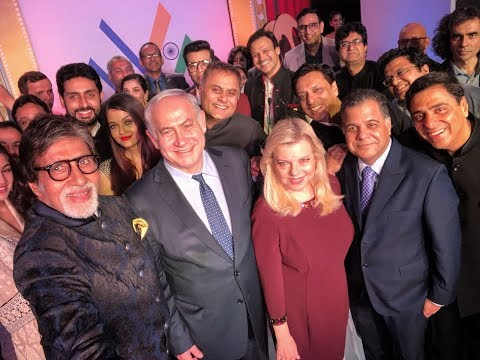 PM Netanyahu and his wife Sara take a selfie with Bollywood Stars