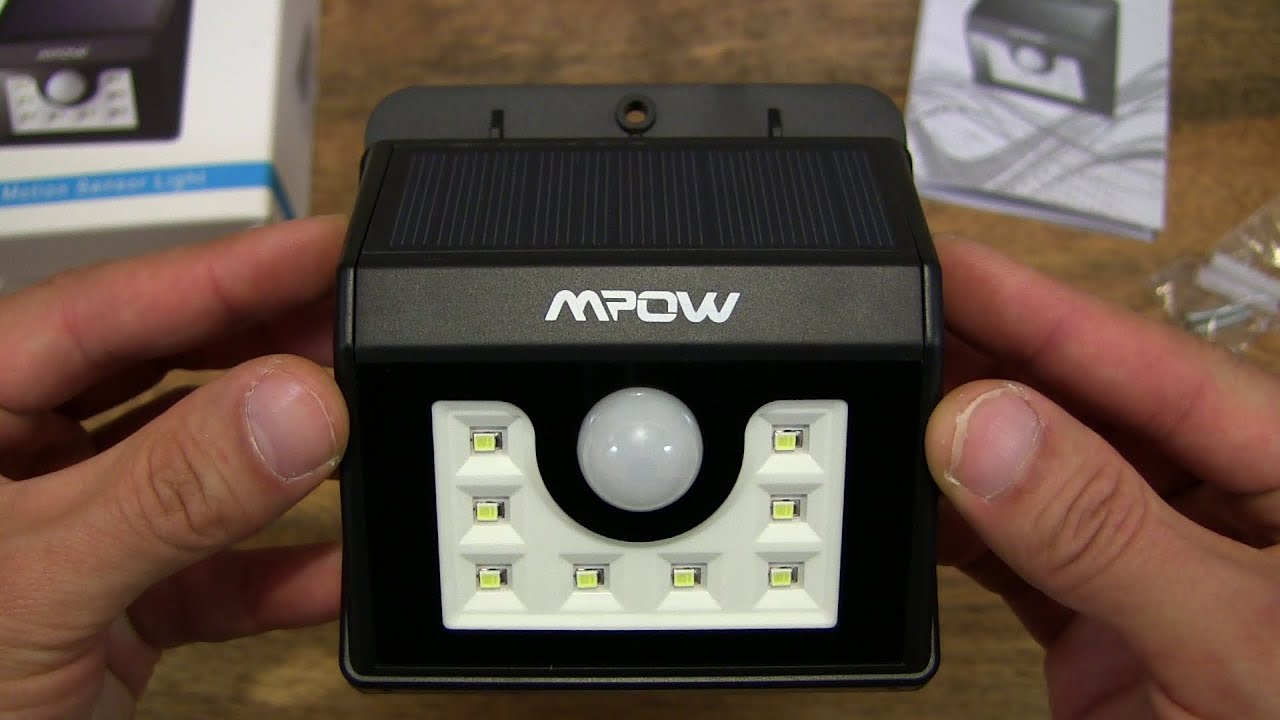 Mpow solar powered 8 led motion sensor light youtube mpow solar powered 8 led motion sensor light aloadofball Image collections