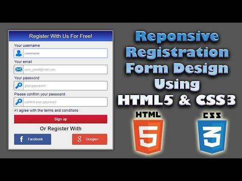 Responsive Registration Form Design Using HTML5 & CSS3 | Web Design Tutorial | Register Page Design