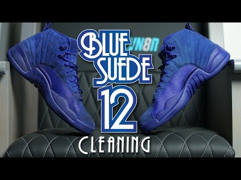 342e8c28195 How to clean Blue Suede Jordan 12!! - YouTube